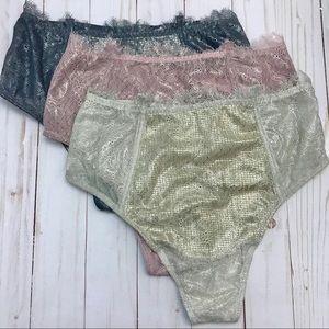 Victoria Secret metallic high waist thong (3)